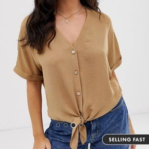 Front tie blouse in camel